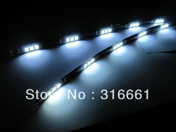 Free shipping 10pcs/lot 30CM 15LED 5050SMD white led waterproof felxible strip(China (Mainland))