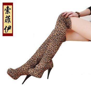 Sexy leopard print elastic boots ultra high heels platform over-the-knee 25pt boots