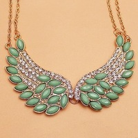 Minimum order $15 free shipping  fashion angel wings full rhinestone necklace