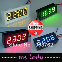 "Electric Digital Clock 12V/24V Car Motor Battery Operated 0.56"" LED Watch Blue/RED/GREEN/YELLOW +DIY PANEL Case Box Freeshipping"