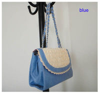 famous brand handbag, PU + lace flower, Size: 26 x 16cm, , 5 different colors(blue),includng a shoulder strap, Free shipping