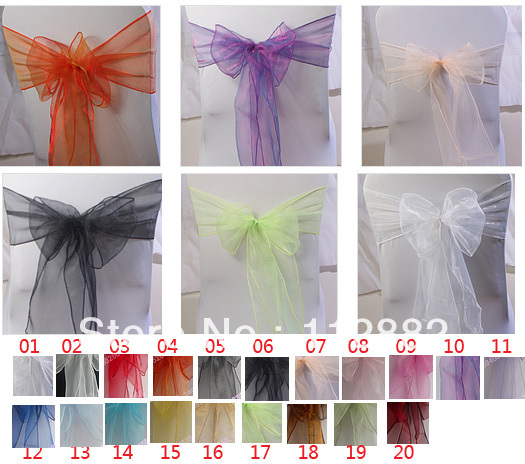 Free Shipping- 50pcs / lot Organza Chair sashes, Chair Bow Cover For Wedding Party Banquet Decoration Wholesale(China (Mainland))