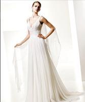 Plain Design Bridal Dress Draped Chiffon Wedding Dress