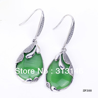 Free Shipping Wholesale Bridal Wedding Retro Green Jade Zircons Australian crystal Dangle Stud 925 Sterling silver earrings