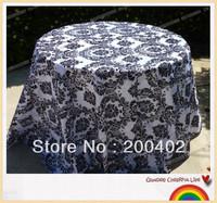 "free shipping 120"" round taffeta flocking table cloth"