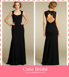 Formal Evening Wear Sexy Black Long Elegant Evening Dresses With Lace Straps(China (Mainland))