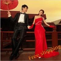 Urged bride long design married new arrival red one shoulder formal evening dress