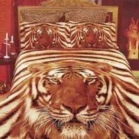 Home painting animal  tiger active 100% cotton 4 pieces per set  bedding set