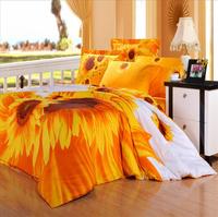 Home textile 100% cotton active 4 pieces per set slanting stripe print sunflower bedding set