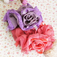 Retail.Lace rose patchwork headbands Elastic hairbands Hair accessories Headwear.Fascinator.Mix color.Cheap price.Hot.TWA11-3M01
