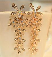 Free Shipping Fashion Flower Crystal Tassel Earrings Large Drop Earrings GE135
