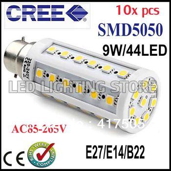 10pcs Super brightness 9W E27 E14 B22 SMD 5050 44 LED Screw Corn Light 850lm 360 degree lighting angle led bulb FREE SHIPPING