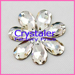 7x12mm crystal sew on rhinestones crystal clear color 2 holes teardrop Sew on Stones silver base(China (Mainland))