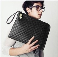 Free shipping--2014 men leisure woven handbags for documents,new fashion male messenger shoulder tote bag women fur