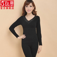 Women's seamless beauty care thermal underwear set golden flower slim V-neck jacquard double layer
