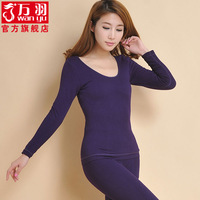 Women's fashion autumn and winter 100% cotton low o-neck thickening plus velvet double layer beauty care thermal underwear set
