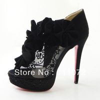 New arrival women's boots black lace with flower peep-toe boots platform shoes high heels boots shoes