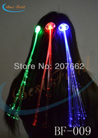 Free shipping12pcs/lot 40cm solid color red blue green blinking hair braid led hair braidsflash hair clip for party
