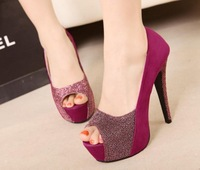 Туфли на высоком каблуке drop shipping two wear way platform pumps 2013 bowtie sexy high heels ladies women shoes woman 14 cm party suede SXX02064