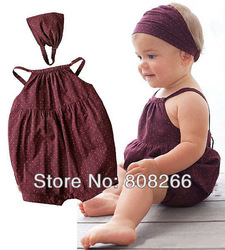 free shipping best selling rompers jumpsuit for girls hot baby summer clothes headwear+romper(China (Mainland))
