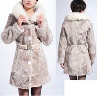 Freeshipping women's sheepskin shearling leather coat with fur, sheepskin coat with fox fur collar