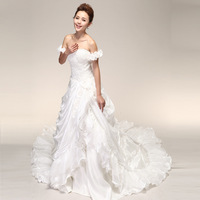 quality guarantee 2012 princess sweet flower tube top train puff skirt wedding dress