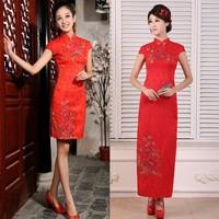 100% The bride cheongsam fashion chinese style improved cheongsam wedding dress formal dress long design cheongsam short design