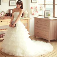 quality guarantee 2012 tube top princess sweet luxury lace big train bride wedding dress formal dress