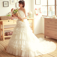 100% quality guarantee  wedding formal dress sweet tube top exquisite beading luxury train fluffy wedding dress