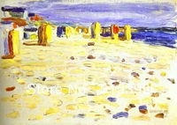 Wassily Kandinsky Oil Painting Reproduction on Linen canvas,Beach Baskets in Holland,Museam Quality,Fast Free ship,100%handmade