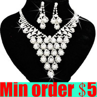 Ювелирный набор Shiny Rhinestone Bride Necklace Earring Set Crystal Bride Wedding Jewellery Set