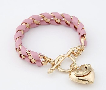 Min Order is $15  No Charge Shipping  Fashion Golden Heart Pendant Preparation Rope Bracelet  Jewelry For Lady