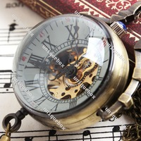 Free Shipping Steampunk Antique Bronze Ball Roman Numeral Mini Mechanical Pocket Watch with Chain F014