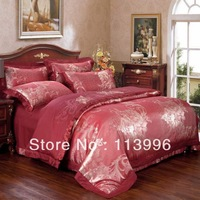 stunning gold red wedding gift luxury jacquard bedding set satin silk cotton quilt duvet cover sheet pillow cases set