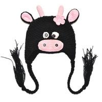 New Cute Baby Kids Children Cartoon Cow Animal Cap Stretchy Cap Hat Beanie Woolen Free Shipping 8581