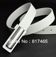 Fashion Korea Style Men Belt Genuine Leather Dress Waistband White Belt for Male 2.9CM Wideth