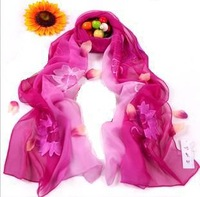 100% Genuine Silk Scarf/ Silk Shawl Hangzhou Designer Brand/ Long Scarf With Floral Embroidery/ Top Quality Gift