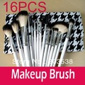 Professional Makeup Brush 16PCS Cosmetic Makeup Brush Set  One Set of 16 Makeup Brushes+Stylish Checker Fashionable Leather Case