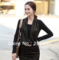 2013 Spring Korea style lady render slim false twinset long sleeve T-shirt sashes
