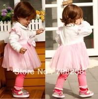 4pcs- Baby Girls' Collar white uppder garment matching pink gause dresses, pink  princess one piece dresses 839