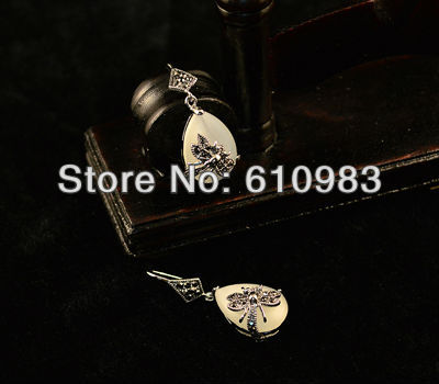 Free shipping (5 pairs\lot) dragonfly shaped tibetan silver and Water-drop-shaped white Opal pendants earrings(China (Mainland))