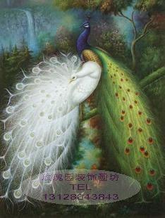 pura mão pintura pintura a óleo decoração pintura moldura clássica qualidade papagaio animal pavão série