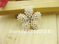 Free Shipping 20PCS  26MM Fashion Flower Pearl Rhinestone Embellishment Button Trim DIY Bow Jewelry Hair Accessories
