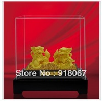 Free shipping gold craft/24K gold craft/art gift/  Chinese Pure gold Wealth Unicorn Dragon Kylin Fu Dog Lion Statue Pair
