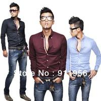 2012 New Fashion Men's Dress Shirts Long sleeve  Slim Fit Black Blue Wine Red US Size XS S,M ,L #100