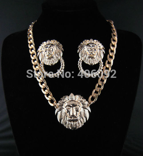 Mix Order is $20 100% free shipping 2013 hotsell chunky chain lion head jewelry set wholesale(China (Mainland))