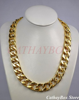 """Men's Chunky Solid Thick All 18KGP Gold Plated Stainless Steel Cuban Curb Chain Necklace 280G 24"""" Long 19MM Wide"""