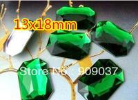 500Pcs/lPack Rectangle/Square Acrylic Sew On Stone Flatback Sewing Buttons 13x18mm rectangular octagonal Green 500pcs/lot