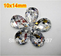 10x14mm crystal clear 1000pcs/lot Tearshape Acrylic Sew On Rhinestone Flatback Droplet Sewing Button Stone Beads