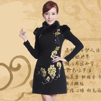 Squid rabbit fur fashion autumn and winter vintage one-piece dress short design thickening cheongsam